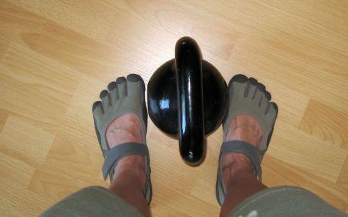 my vibram fivefingers sprints & my 16kg kettlebell