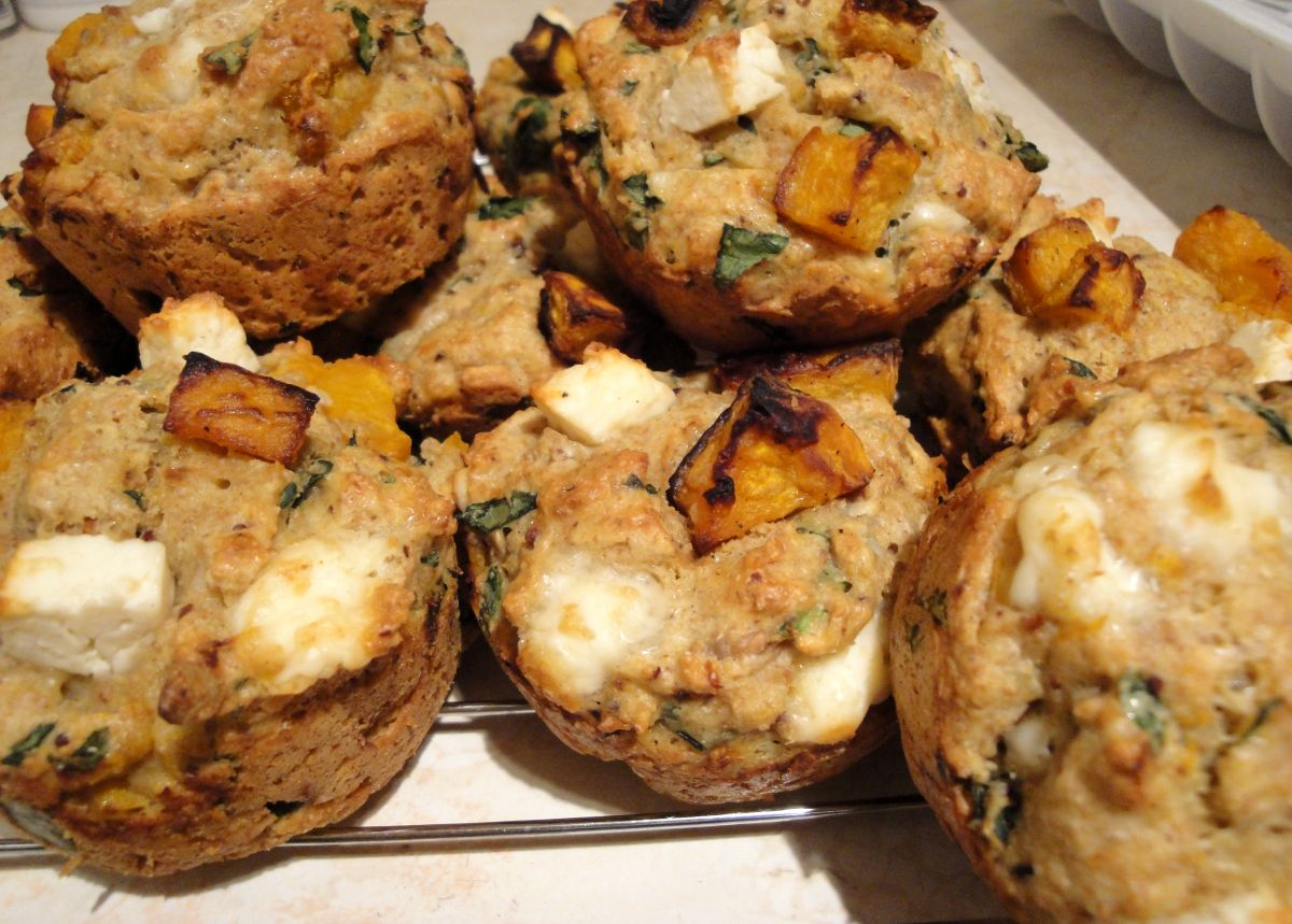 spelt muffins warm feta and pumpkin muffins pumpkin feta muffins makes ...