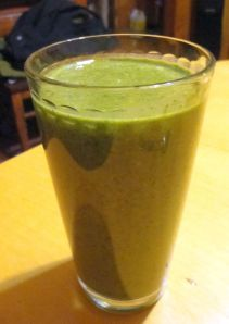 green smoothie for breakfast - 3 cups of kale in there!