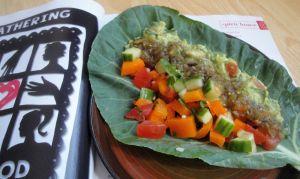 raw taco - with salsa verde & guacamole in a collard green leaf